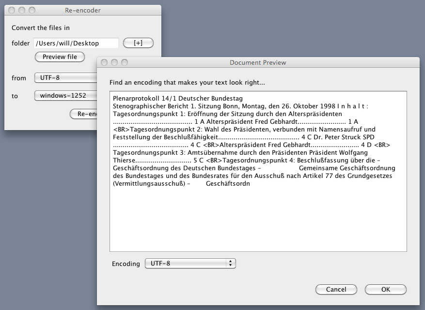 screenshot of Re-encoder with previewed document, on a Mac